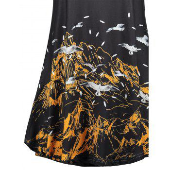 Ring Sailing Mountain Print Tank Top - BLACK BLACK
