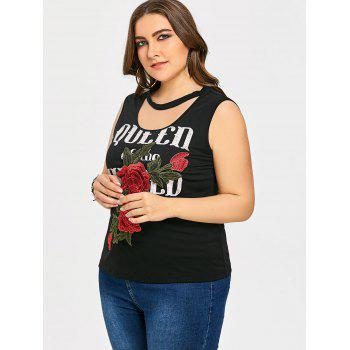 Letter Print Plus Size Sleeveless T-shirt - BLACK 5XL