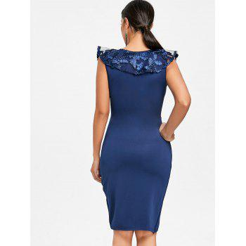 Ruched Lace Trimmed Bodycon Dress - BLUE M