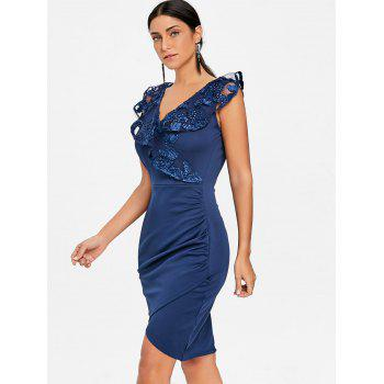 Ruched Lace Trimmed Bodycon Dress - BLUE BLUE