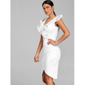 Ruched Lace Trimmed Bodycon Dress - WHITE M
