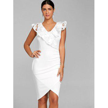 Ruched Lace Trimmed Bodycon Dress - WHITE WHITE