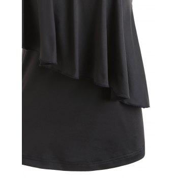 One Shoulder Sequins Overlay Capelet Top - BLACK 2XL