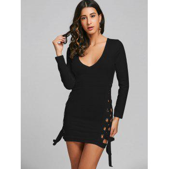 Plunging Neckline Lace Up Bodycon Mini Dress - BLACK M
