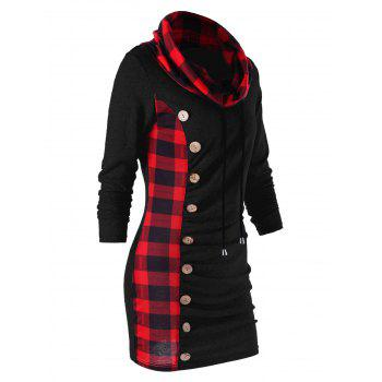 Plaid Drawstring Cowl Neck Tunic Sweatshirt Dress - RED/BLACK M