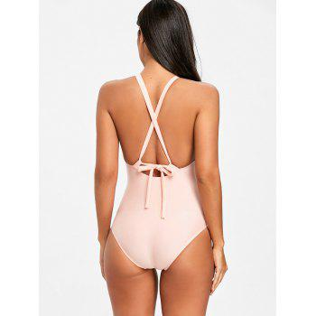 Keyhole Criss Cross One Piece Swimsuit - ORANGEPINK XL