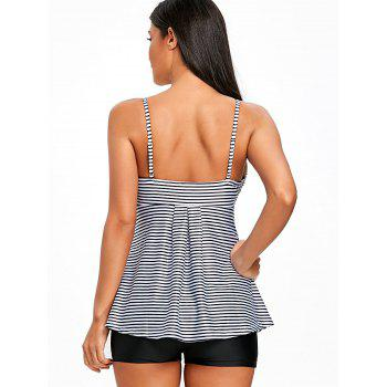 Striped Empire Waist Skirted Tankini Set - BLACK STRIPE XL