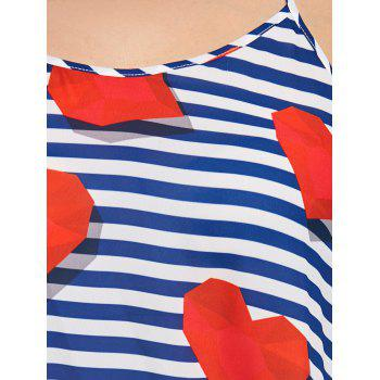 Heart Stripe Plus Size Chiffon Long Tank Top - BLUE XL