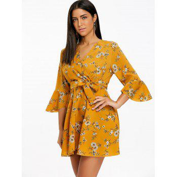 Floral Print Bell Sleeve Chiffon Mini Dress - YELLOW 2XL