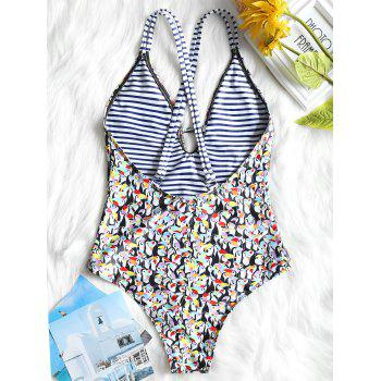 Penguin Print Deep V One Piece Swimsuit - COLORMIX XL