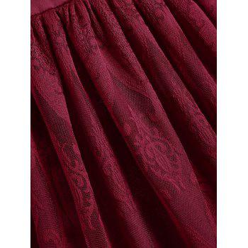 Sleeveless Floral Lace Panel Overlay Vintage Dress - WINE RED S