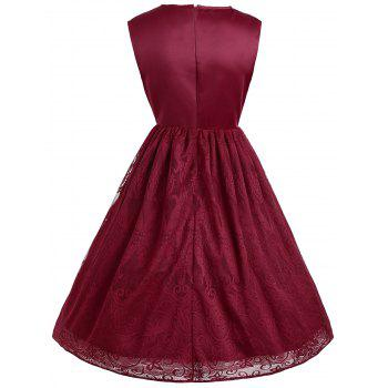 Sleeveless Floral Lace Panel Overlay Vintage Dress - WINE RED 2XL