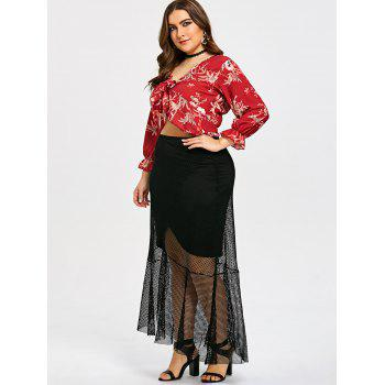 Plus Size Sheer High Low Hem Mesh Skirt - BLACK 2XL