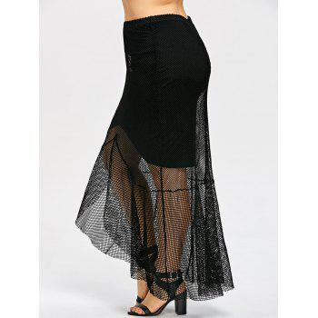 Plus Size Sheer High Low Hem Mesh Skirt - BLACK 3XL