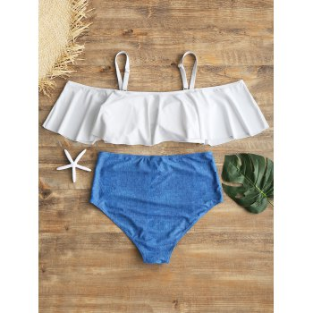 Overlay High Waisted Plus Size Bikini - WHITE XL
