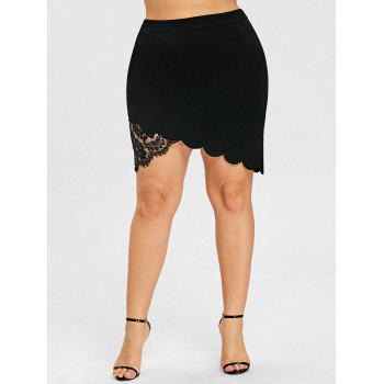 Plus Size Mini Lace Scalloped Skirt - BLACK 2XL