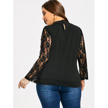 Plus Size Criss Cross Floral Embroidered Sweatshirt - BLACK 5XL