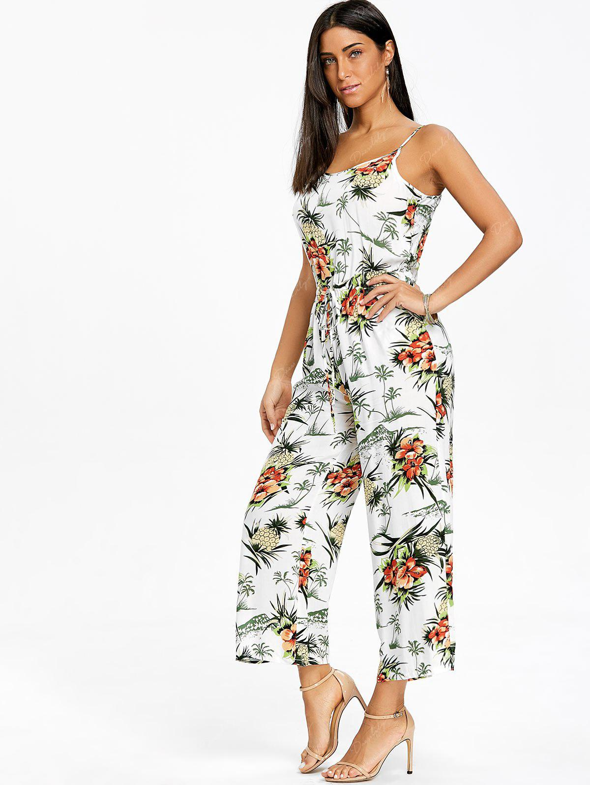 Chiffon Pineapple Printed Wide Leg Jumpsuit - WHITE 2XL