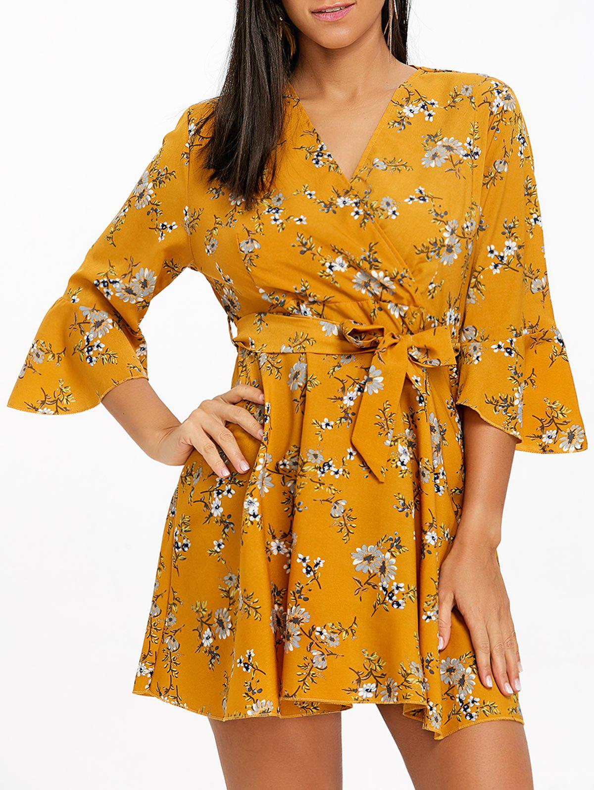 Floral Print Bell Sleeve Chiffon Mini Dress - YELLOW M