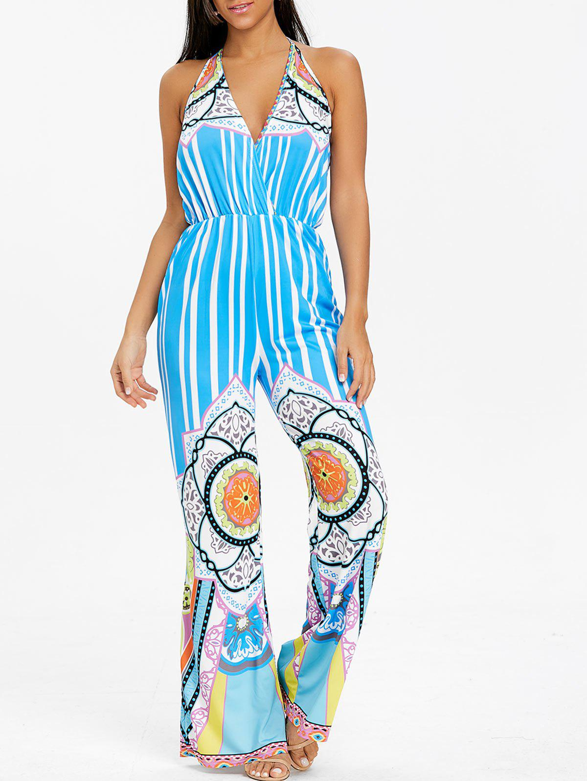 Striped Tribal Print Backless Jumpsuit - WINDSOR BLUE XL
