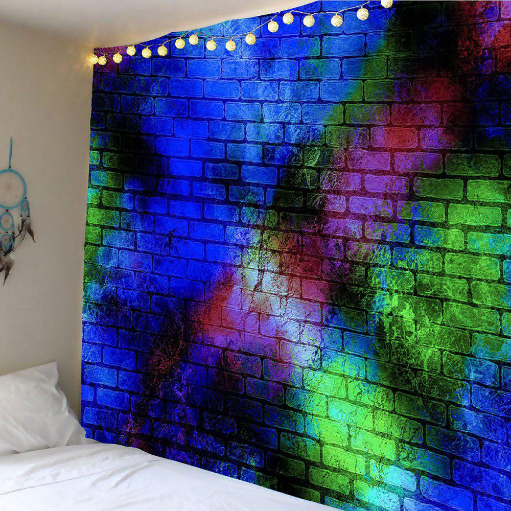 Decorative Colorful Brick Wall Print Tapestry - COLORFUL W79 INCH * L71 INCH