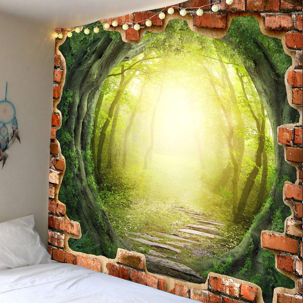 2018 Tree Hole Dreamy Forest Pathway Printed Wall Art Tapestry GREEN ...