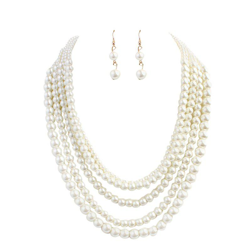 Beaded Faux Pearl Wedding Jewelry Set - WHITE