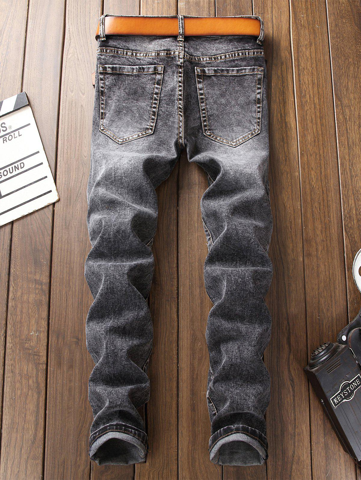 Patch Appliques Bleached Ripped Jeans - GRAY 36