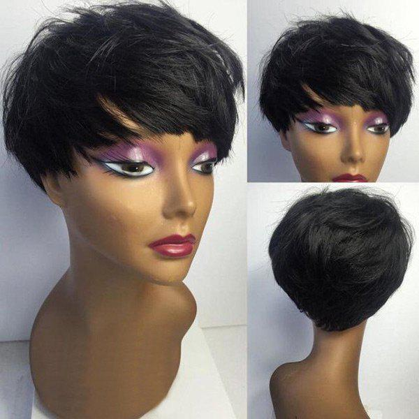 Short Inclined Bang Layered Straight Virgin Human Hair Wig - BLACK