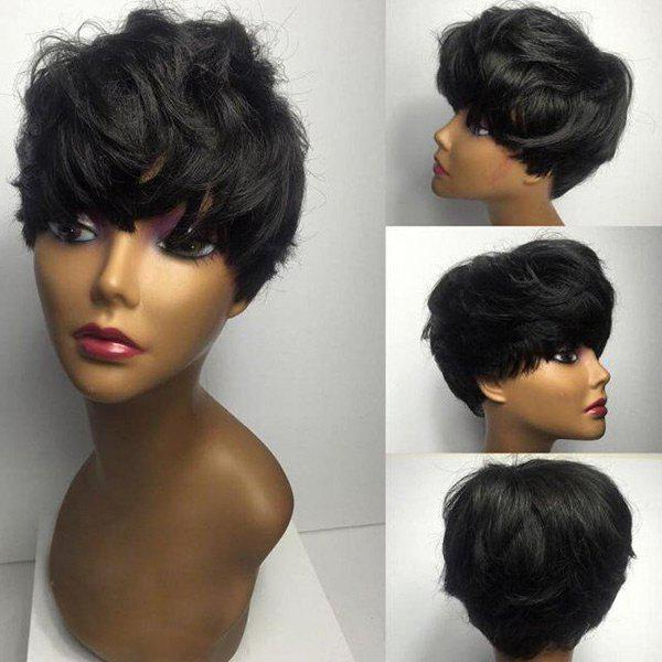 Short Oblique Bang Fluffy Natural Straight Human Hair Wig - BLACK 6INCH