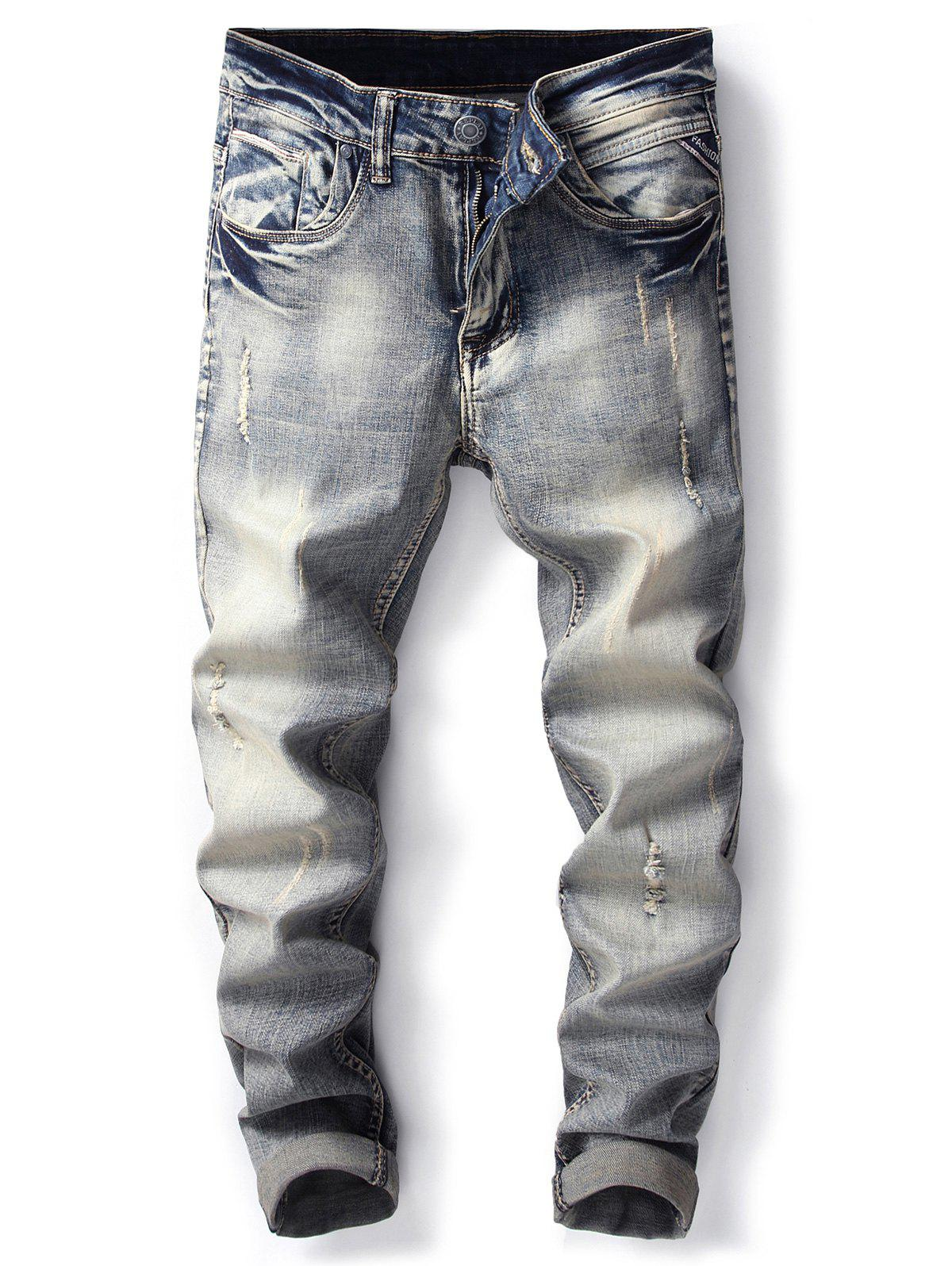 Straight Leg Bleached Effect Ripped Jeans - DENIM BLUE 34