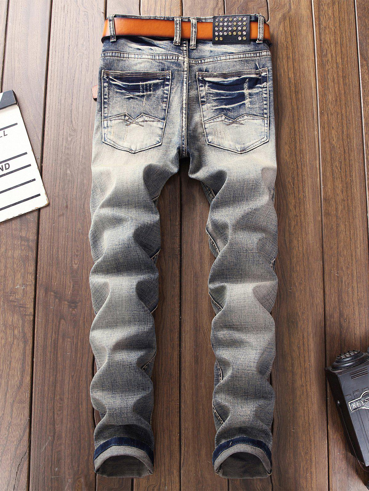 Straight Leg Bleached Effect Ripped Jeans - DENIM BLUE 38