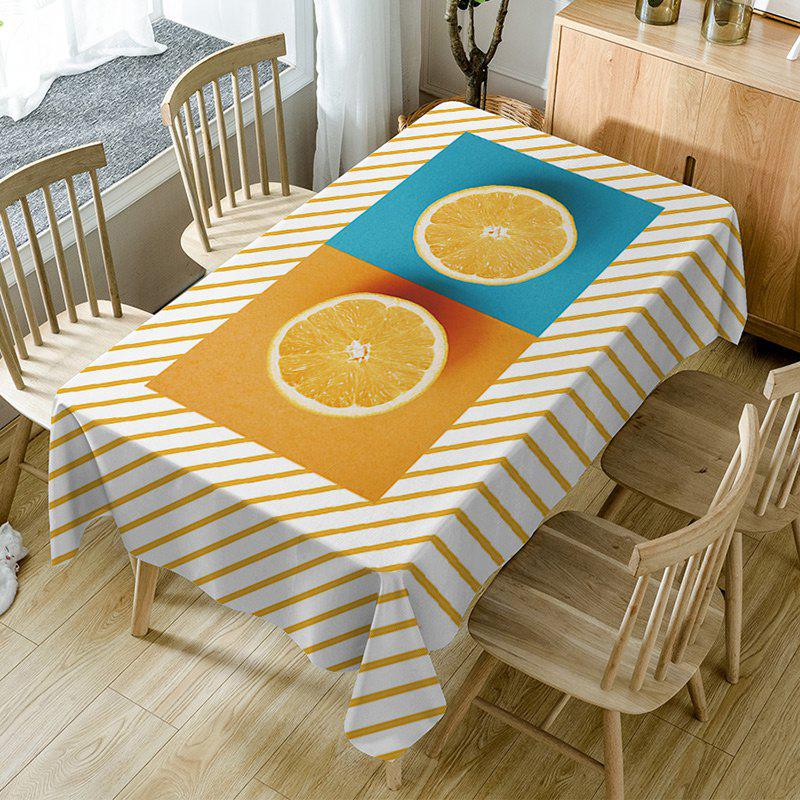 Orange Striped Print Fabric Waterproof Table Cloth - ORANGE W60 INCH * L84 INCH