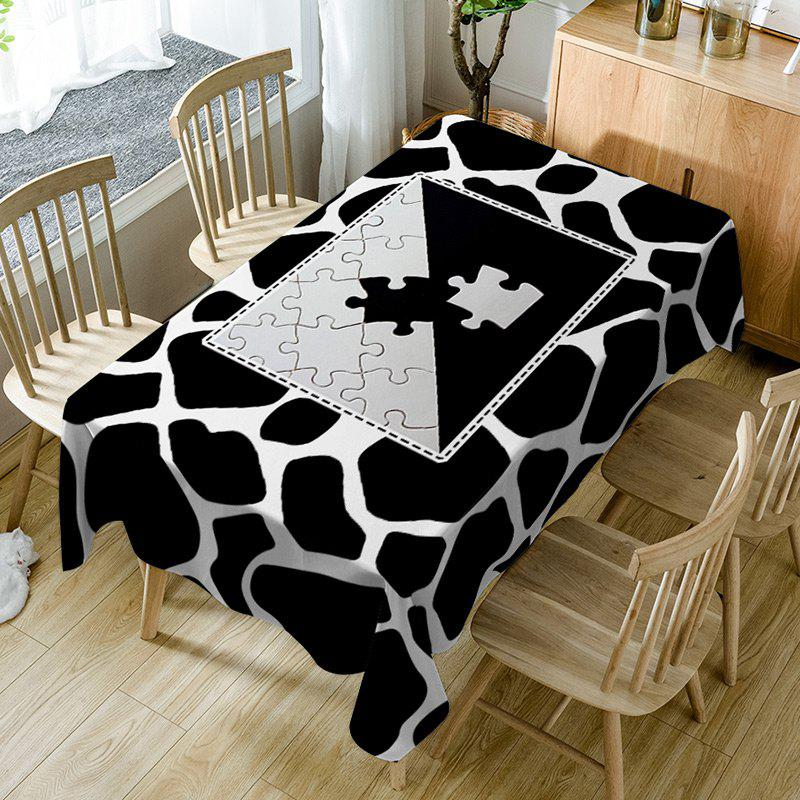 Jigsaw Print Fabric Waterproof Dining Table Cloth - BLACK WHITE W54 INCH * L54 INCH