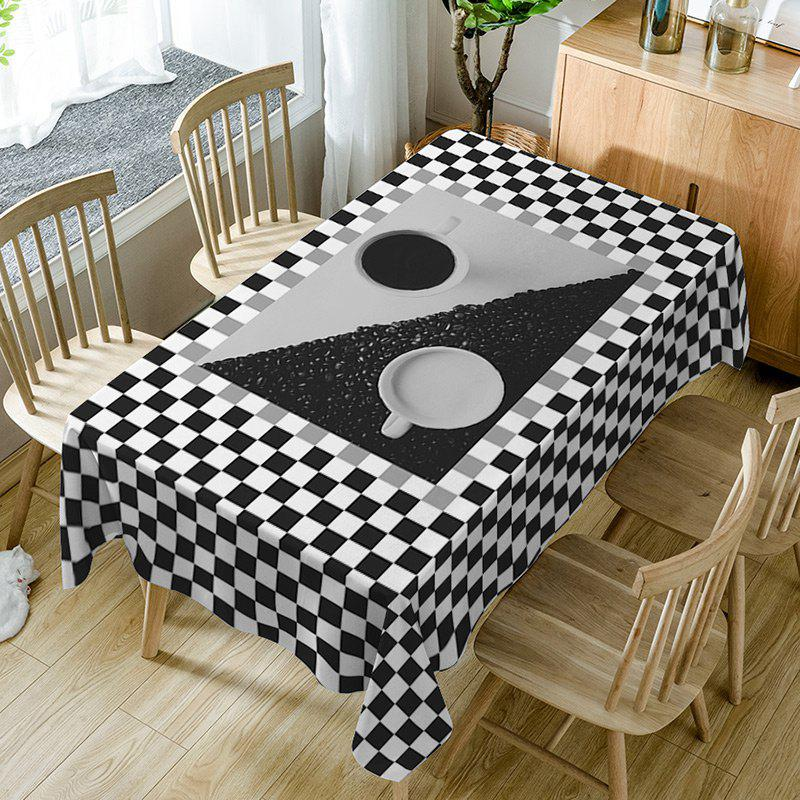 Plaid Print Fabric Waterproof Table Cloth - BLACK WHITE W54 INCH * L72 INCH