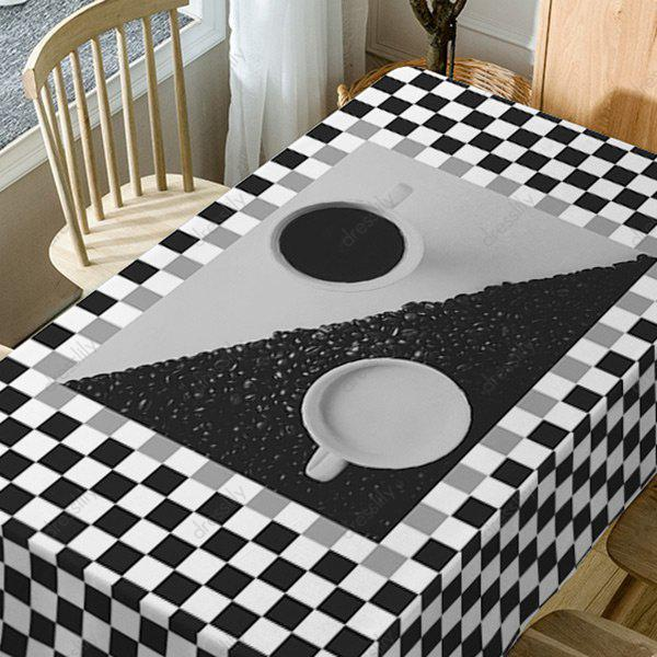 Plaid Print Fabric Waterproof Table Cloth - BLACK WHITE W60 INCH * L84 INCH