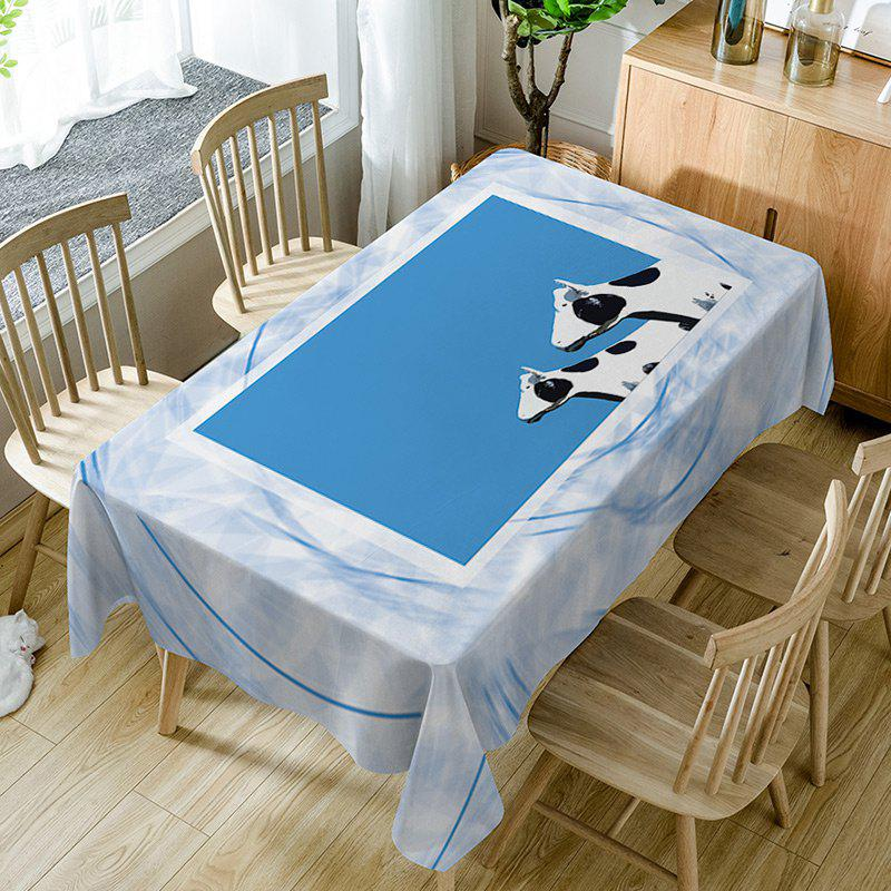 Dairy Cattle Print Waterproof Table Cloth - BLUE W54 INCH * L72 INCH