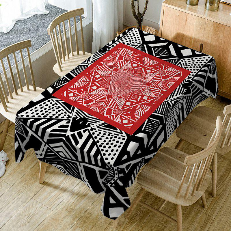 Geometric Print Waterproof Table Cloth - BLACK/RED W54 INCH * L54 INCH