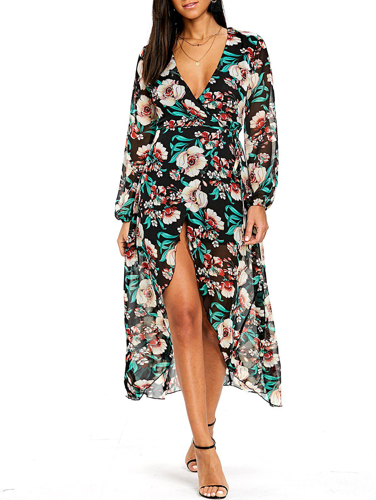Flower Print Plunging Wrap Tulip Dress - GREEN XL
