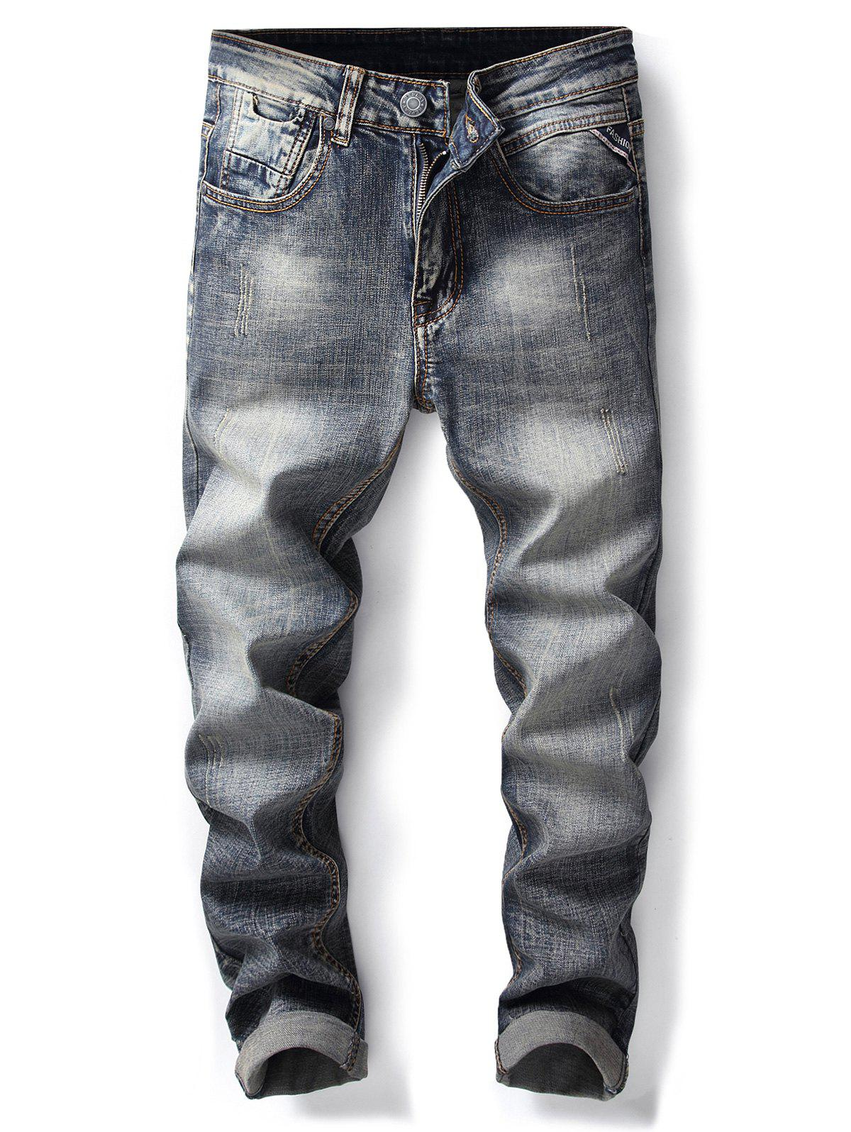Straight Leg Bleach Wash Ripped Jeans - DENIM BLUE 32