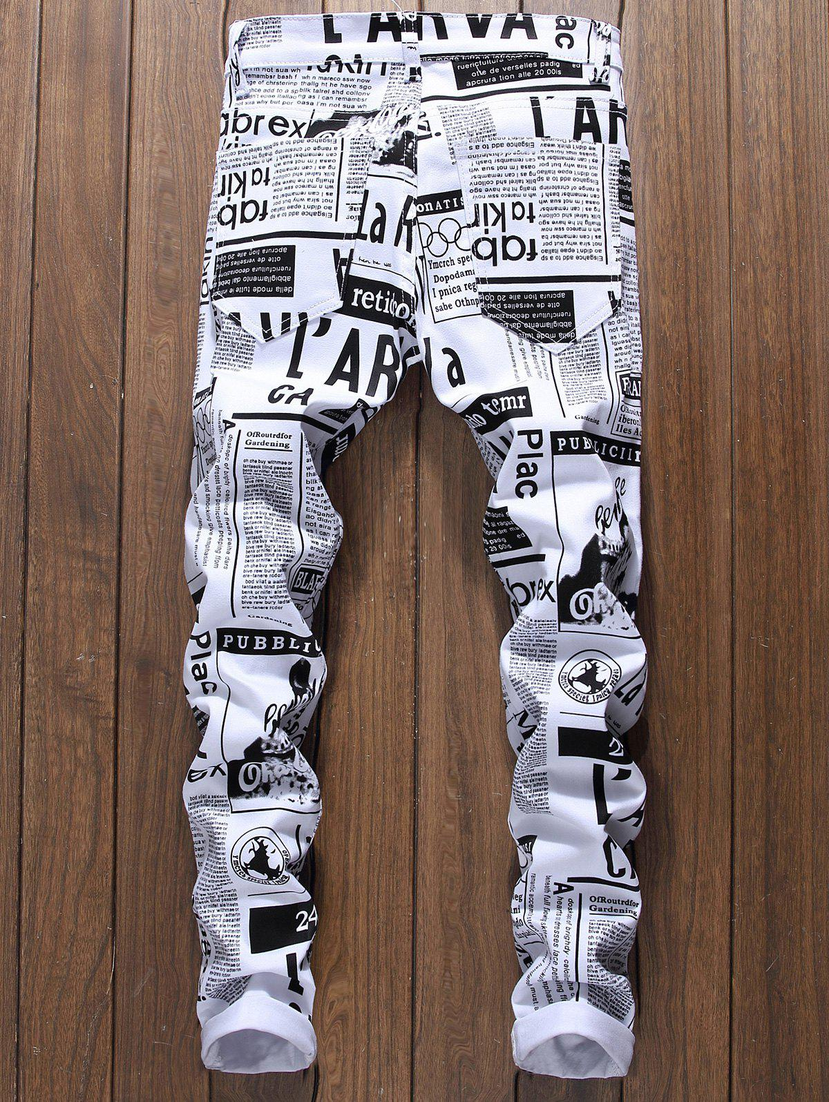 Newspapers Print Narrow Feet Skinny Jeans - WHITE 32