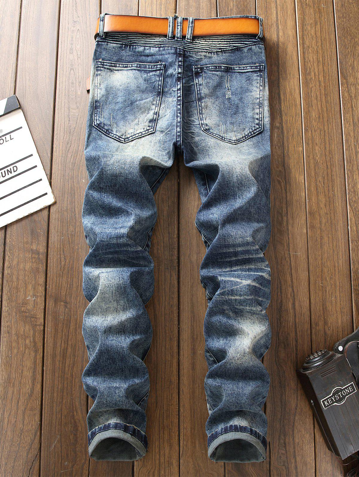 Accordion Pleat Bleach Wash Ripped Biker Jeans - DENIM BLUE 32
