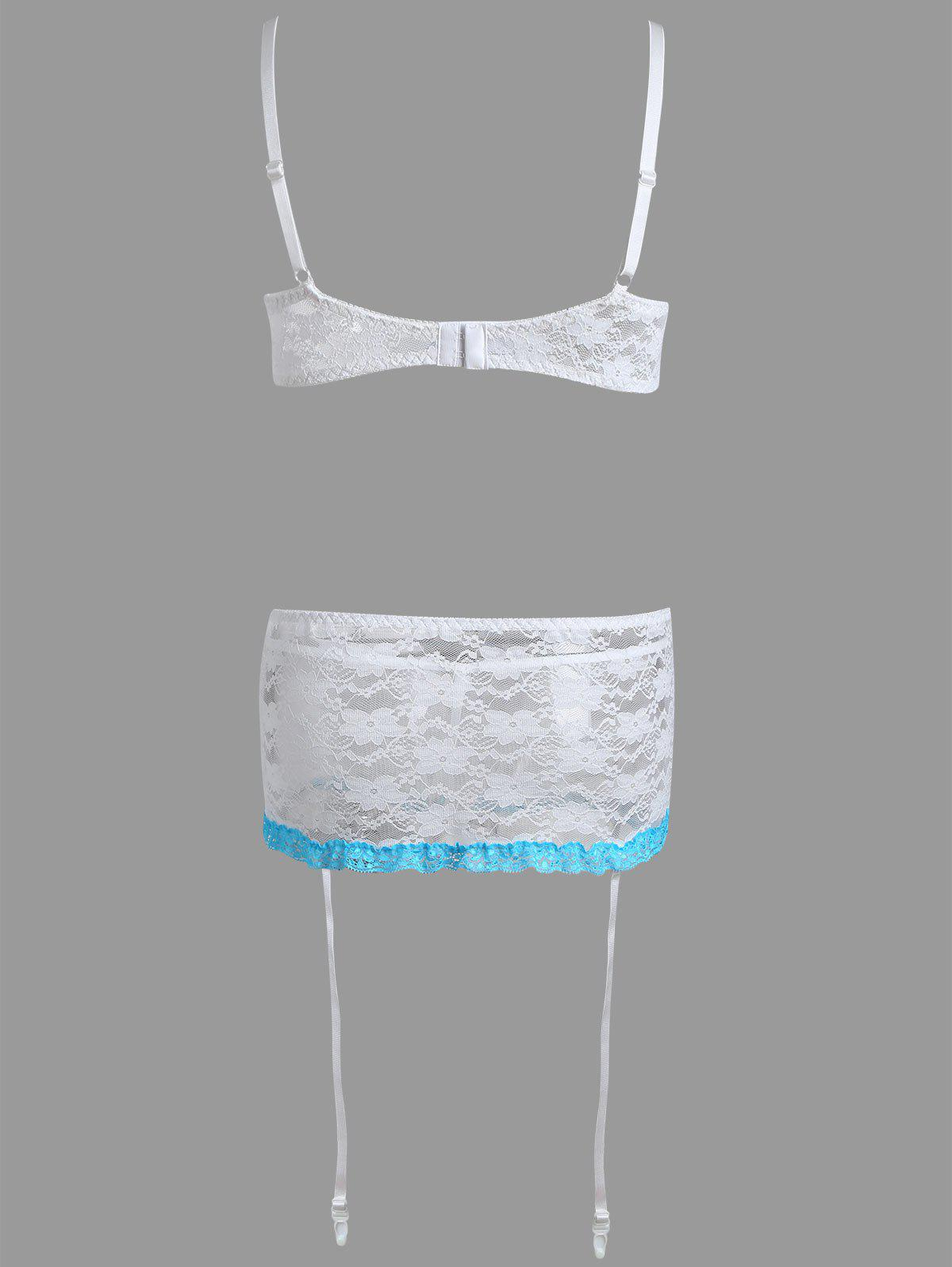 Sheer Lace Lingerie Bra Set - WHITE M