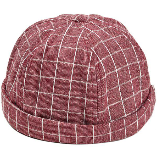 Retro Checked Pattern Embellished Landlord Hat - RED