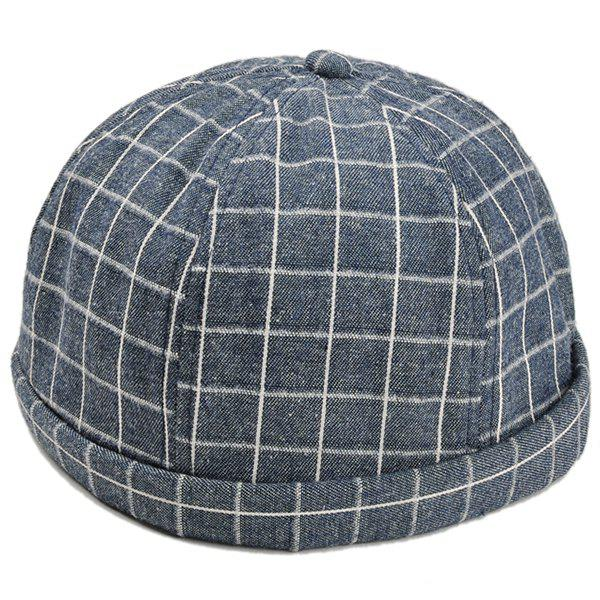 Retro Checked Pattern Embellished Landlord Hat - CADETBLUE