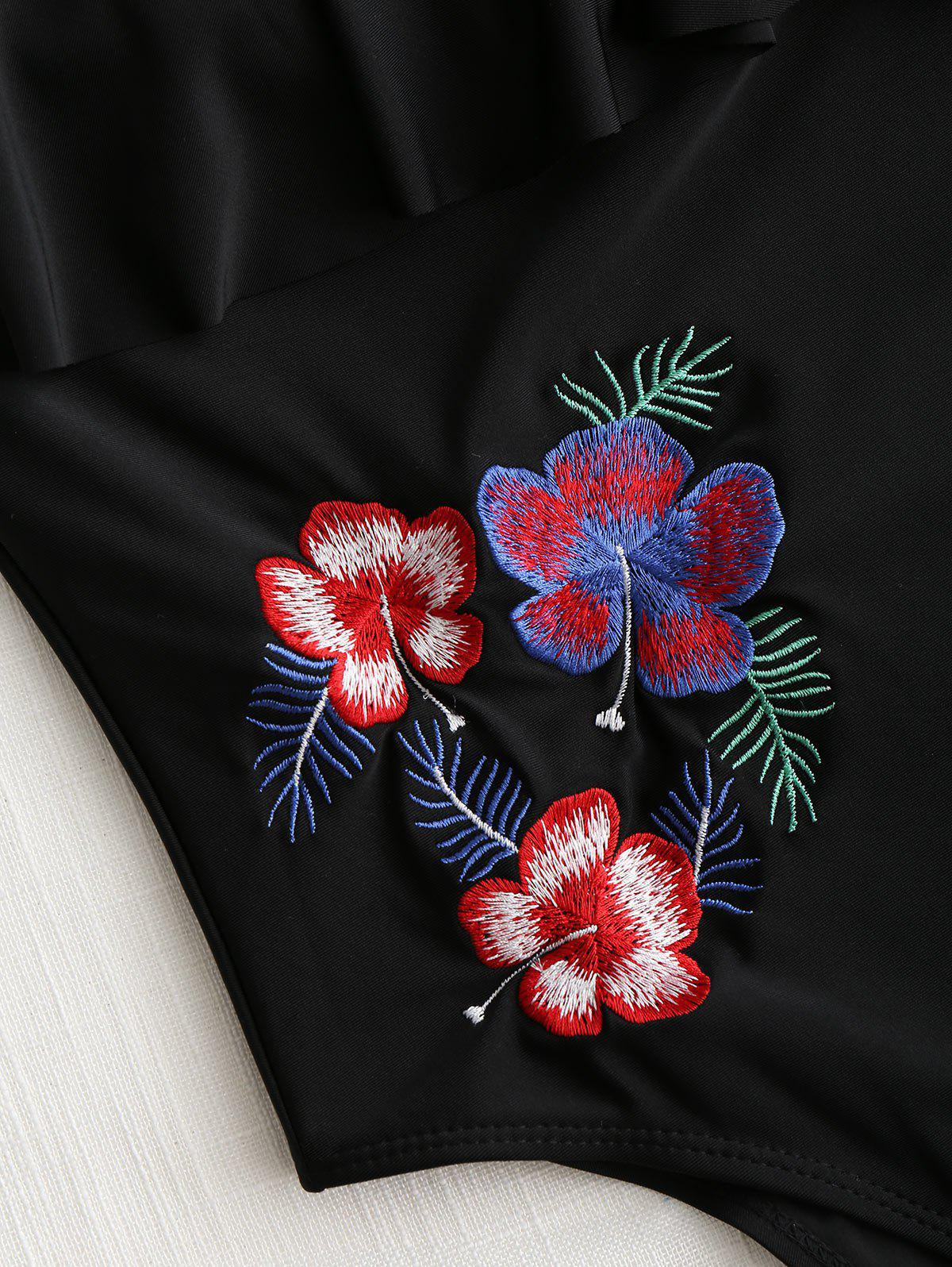 Flounce Flower Embroidery High Cut Swimwear - BLACK L