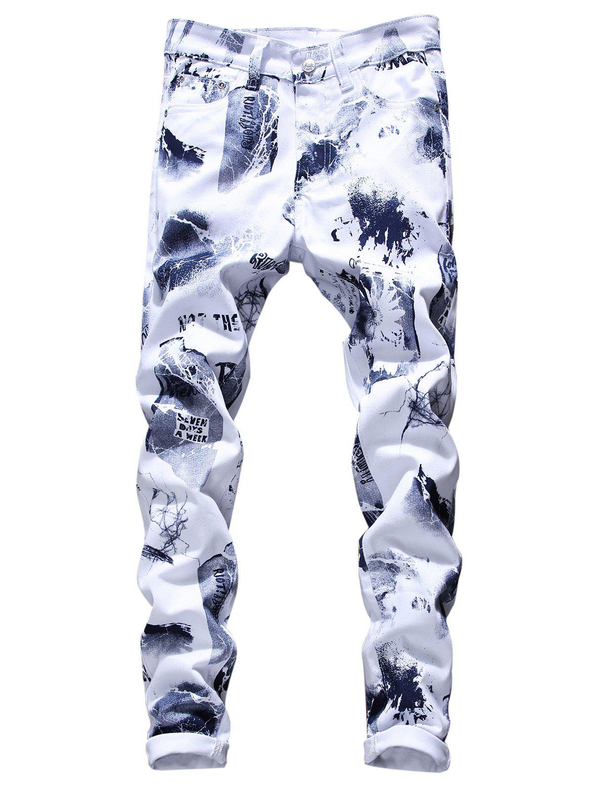 Graphic Tie Dye Print Skinny Jeans - WHITE 34