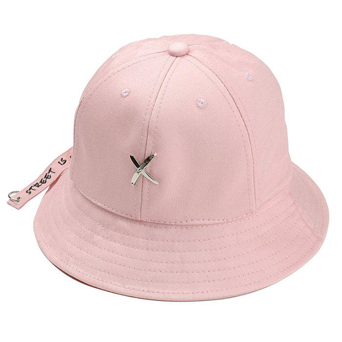 Metal X Pattern Decorated Adjustable Bucket Hat - PINK
