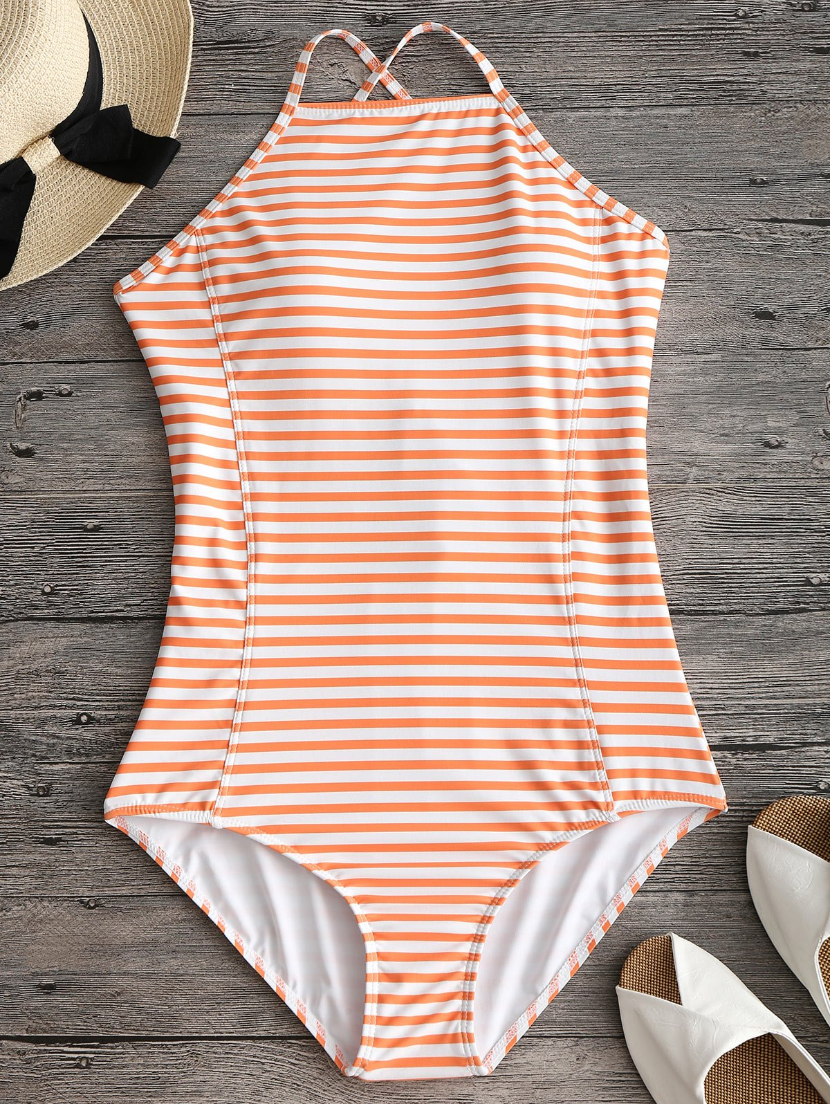 High Neck Criss Cross Back Striped Swimwear - ORANGE L