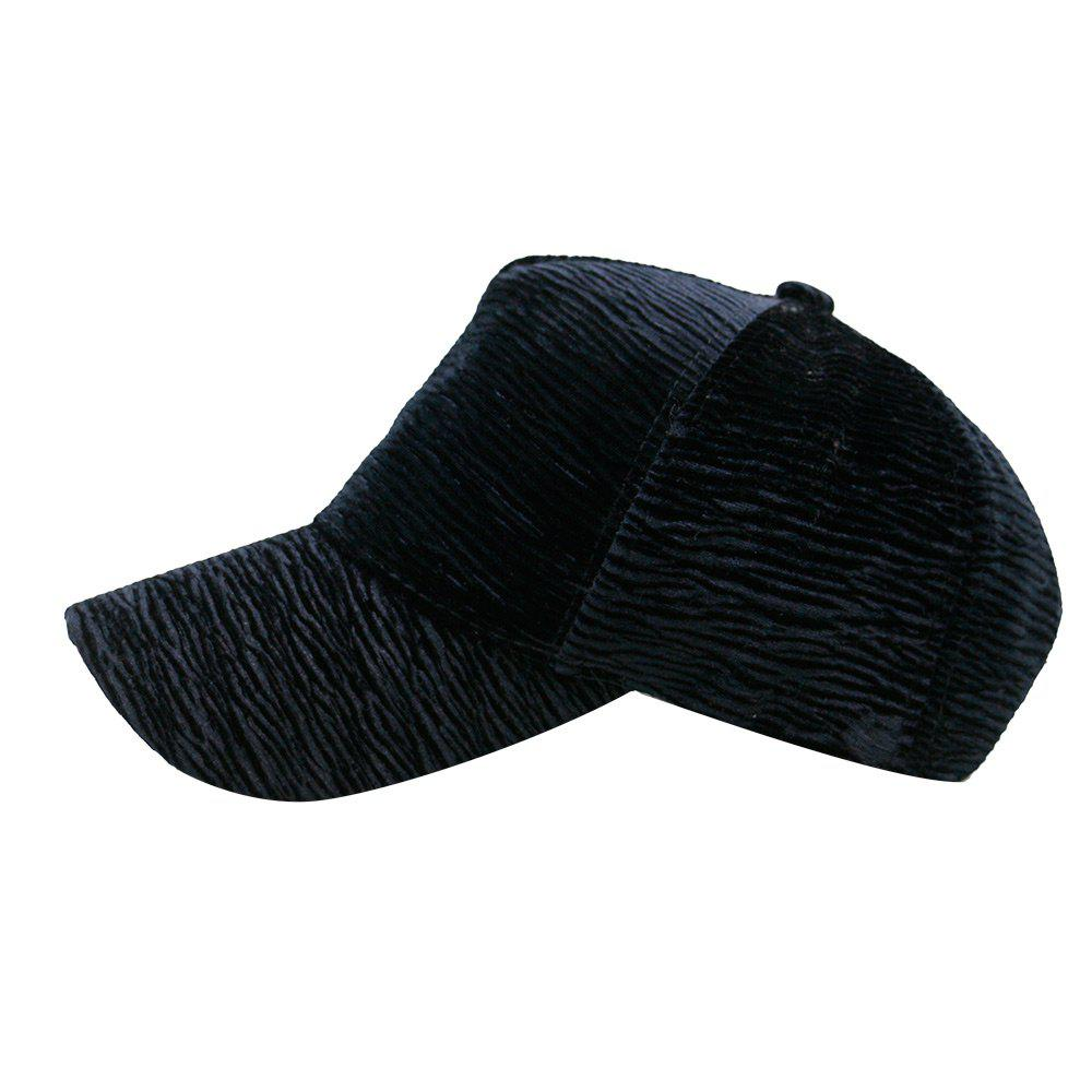 Unique Solid Color Striped Pattern Sunscreen Hat - BLACK